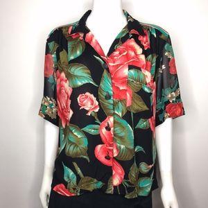 VTG Carole Little Floral Short Sleeve ButtonUp Top